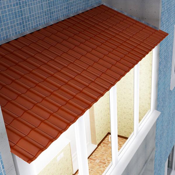 Установить крышу на балкон из металлочерепицы 900x3000.