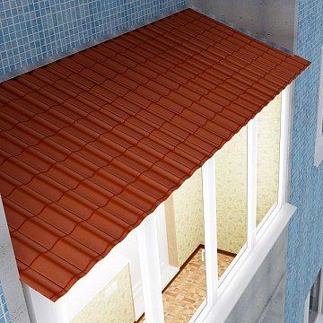 Крыша на балкон из металлочерепицы.
